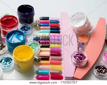 great bright manicure set on the table
