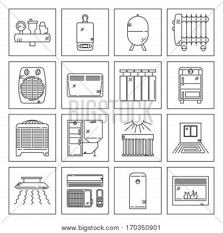 Modern Line Icons Set of House Heating. Premium quality mono linear emblem pack. Outline vector logo templates. Perfect for your business.
