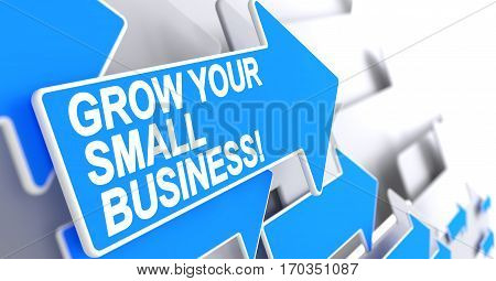 Grow Your Small Business, Text on the Blue Cursor. Grow Your Small Business - Blue Arrow with a Label Indicates the Direction of Movement. 3D Render.