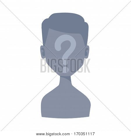 Man portrait face icon web avatar flat style. Vector male blocked or unknown anonymous silhouette. Business manager character illustration.