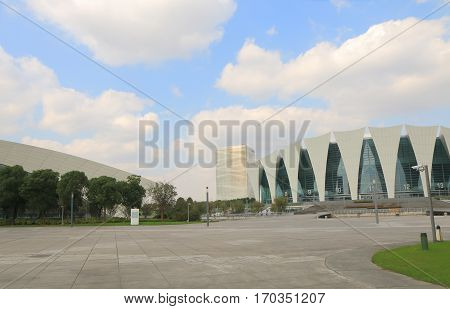 SHANGHAI CHINA - NOVEMBER 2, 2016: Shanghai Oriental Sports Center sign. Shanghai Oriental Sports Center is a sports venue opened in 2014