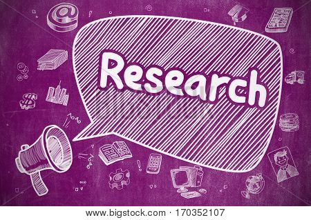 Business Concept. Megaphone with Phrase Research. Doodle Illustration on Purple Chalkboard. Research on Speech Bubble. Hand Drawn Illustration of Shrieking Megaphone. Advertising Concept.