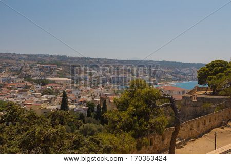 Rethymno, Greece - July  30, 2016: Panoramic View To Rethymno From Fortezza Castle.