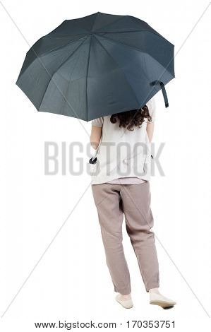 young woman under an umbrella. Rear view people collection.  backside view of person.  Isolated over white background. curly girl hiding under an umbrella.