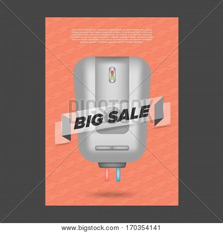 Big Sale banner electronic theme with water heater and blue background