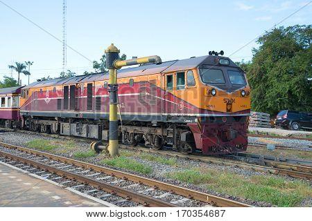 AYUTTHAYA, THAILAND - JANUARY 02, 2017: The diesel locomotive on the railroad tracks. Royal Thai railway.