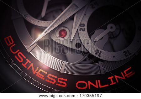 Business Online - Inscription on Elegant Pocket Watch with Visible Mechanism, Clockwork Close Up. Luxury, Mens Vintage Accessory. Time and Work Concept. 3D.