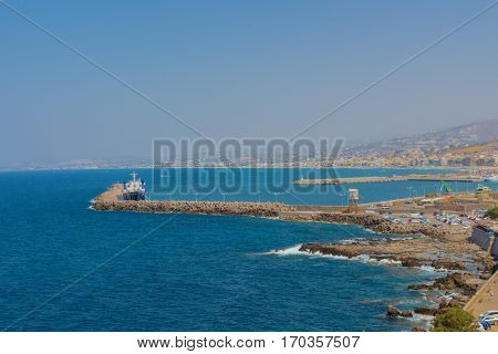 Rethymno, Greece - July  30, 2016: Panoramic View To Rethymno From Fortezza
