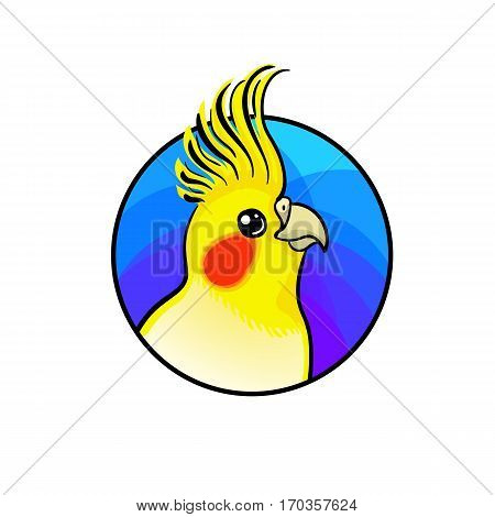 Cockatiel bird. Animal art, cute cartoon style, vector hand drawn illustration. Suitable for pet shop or zoo ads, label design or animal food package element