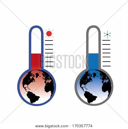 Earth in the form of a thermometer, cooling and warming. illustration.