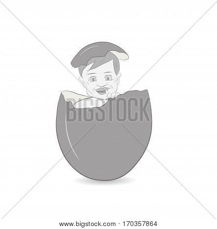 child in the eggshell. vector illustration .