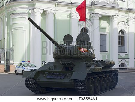 SAINT PETERSBURG, RUSSIA - MAY 05, 2015: T-34 tank in front of the rehearsal of the Victory parade in St. Petersburg