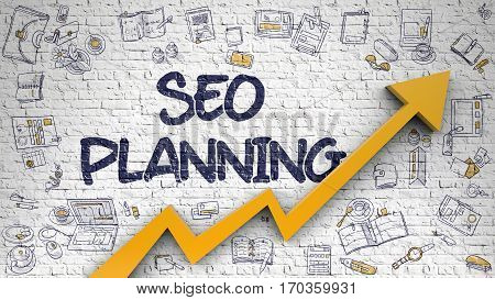 Brick Wall with SEO Planning - Search Engine Optimization Planning Inscription and Orange Arrow. Enhancement Concept.