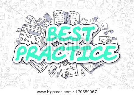 Cartoon Illustration of Best Practice, Surrounded by Stationery. Business Concept for Web Banners, Printed Materials.