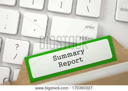 Summary Report. Green Sort Index Card on Background of Modern Laptop Keyboard. Archive Concept. Closeup View. Blurred Illustration. 3D Rendering.