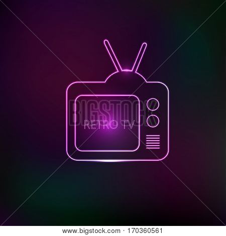 Retro TV logo with with neon effect. Vector illustration.