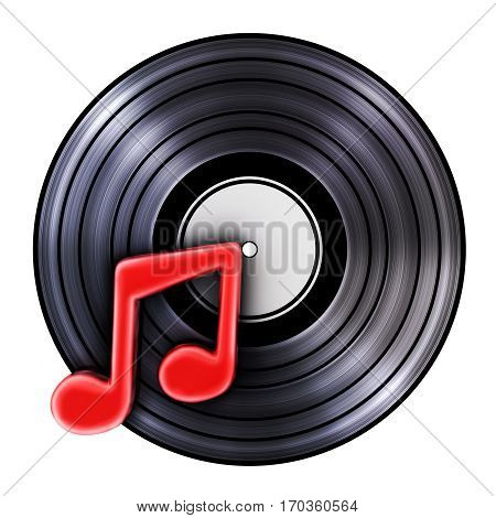 Old record and symbol music. 3d illustration (isolated)