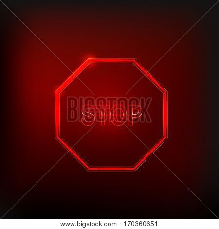 Red neon stop sign isolated on dark background. Traffic regulatory warning stop symbol. Vector illustration.