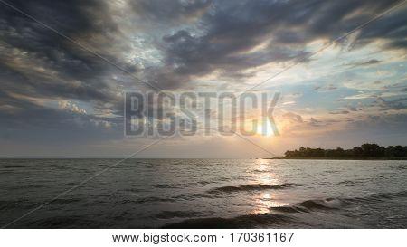 early autumn shore / bright morning landscape sunrise Ukraine