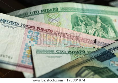 Banknote background of Belarusian rubles close up