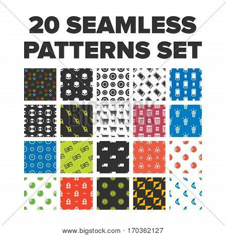 25 seamless patterns sets with different themes