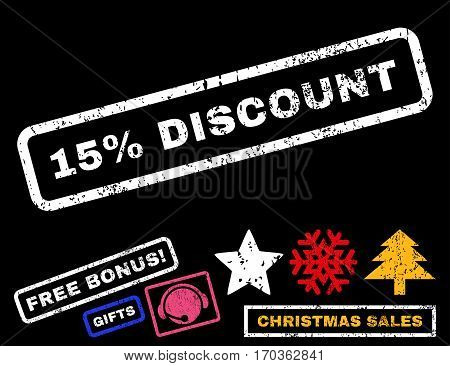 15 Percent Discount text rubber seal stamp watermark with additional bonus christmas symbols. Tag inside rectangular shape with grunge design and dirty texture.