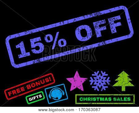 15 Percent Off text rubber seal stamp watermark with additional bonus new year symbols. Caption inside rectangular shape with grunge design and dust texture.