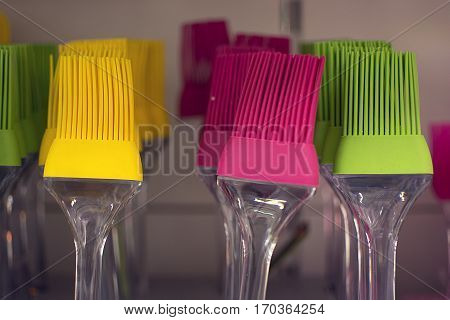 Color plastic brush. Used in pastry. Pastry making materials