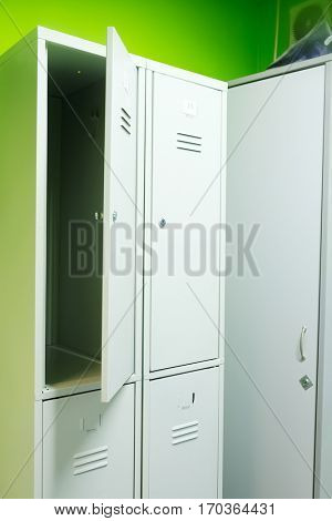 Shelfs in locker room in fitness club