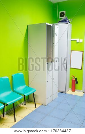 Locker room in fitness club