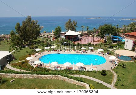 Alanya, Turkey - June 4, 2015: Panoramic views of the sea and the Justiniano Deluxe hotel grounds in Alanya.