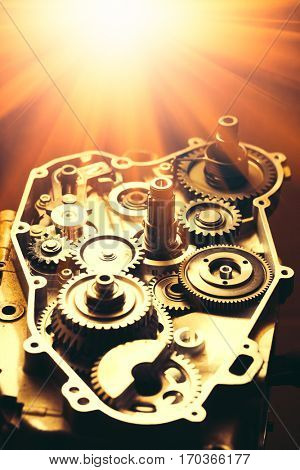 engine of motorcycle with gears and shiny light