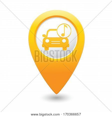 Car service. Car with music icon on yellow map pointer. Vector illustration