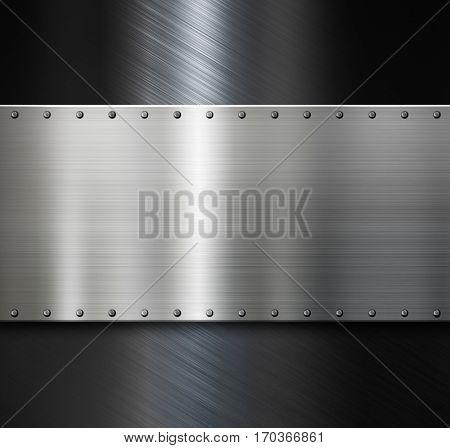metal plate over dark steel background