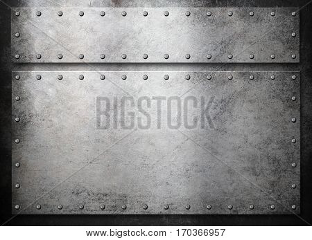 rustic metal plates over dark background
