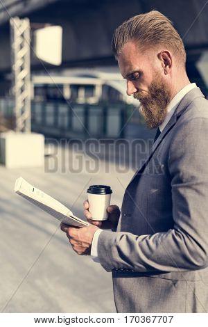 Businessmen Hands Hold Cup Read Newspaper