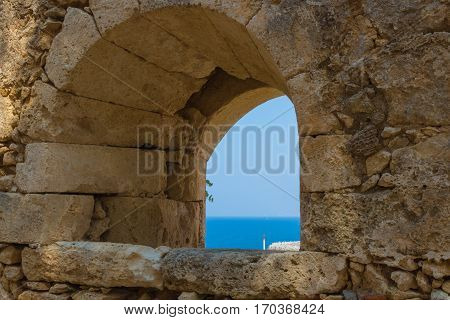 The Embrasure In Fortezza, Rethymno, Greece.