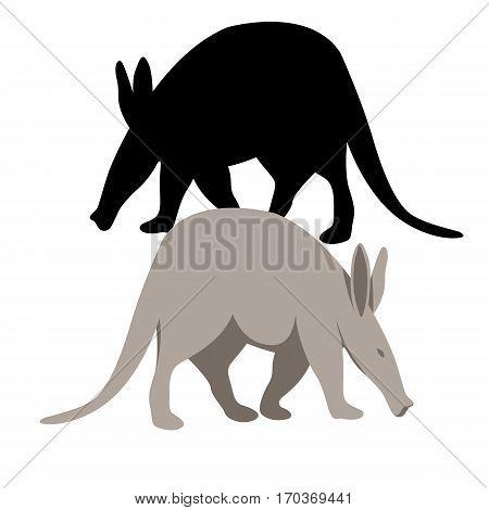 anteater vector illustration style Flat set black silhouette