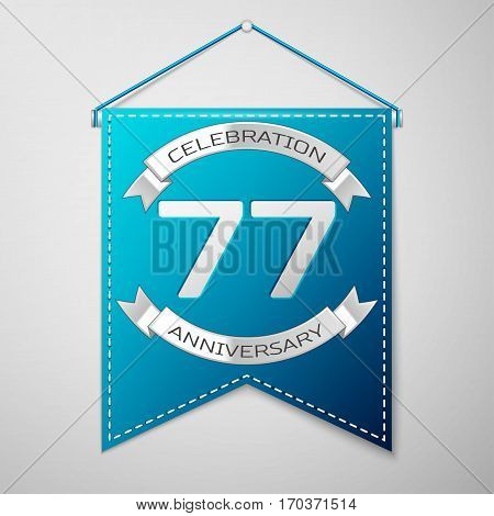 Blue pennant with inscription Seventy seven Years Anniversary Celebration Design over a grey background. Silver ribbon. Colorful template elements for your birthday party. Vector illustration