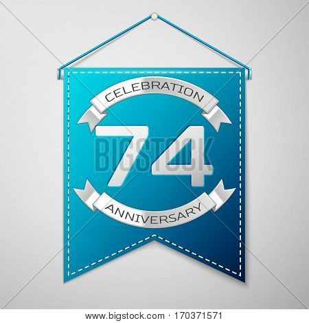 Blue pennant with inscription Seventy four Years Anniversary Celebration Design over a grey background. Silver ribbon. Colorful template elements for your birthday party. Vector illustration