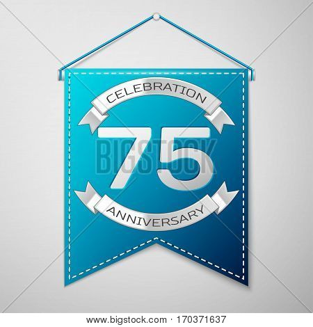 Blue pennant with inscription Seventy five Years Anniversary Celebration Design over a grey background. Silver ribbon. Colorful template elements for your birthday party. Vector illustration
