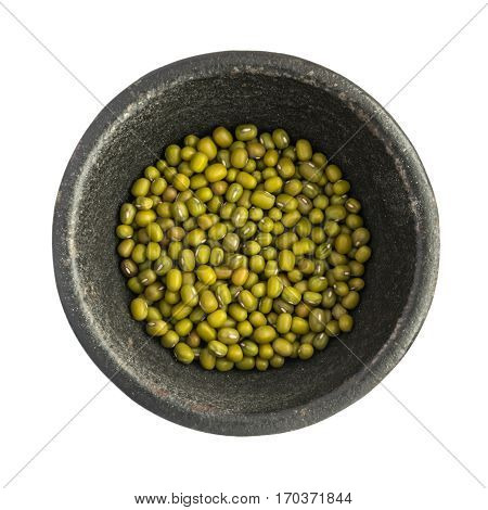 Raw Dry Mung Beens Grains Heap In Black Iron Bowl