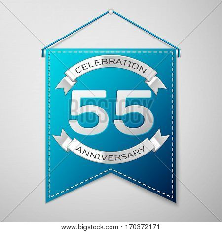Blue pennant with inscription Fifty five Years Anniversary Celebration Design over a grey background. Silver ribbon. Colorful template elements for your birthday party. Vector illustration
