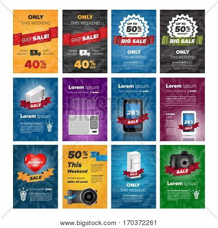 Social media banners pack with electronics on color backgrounds