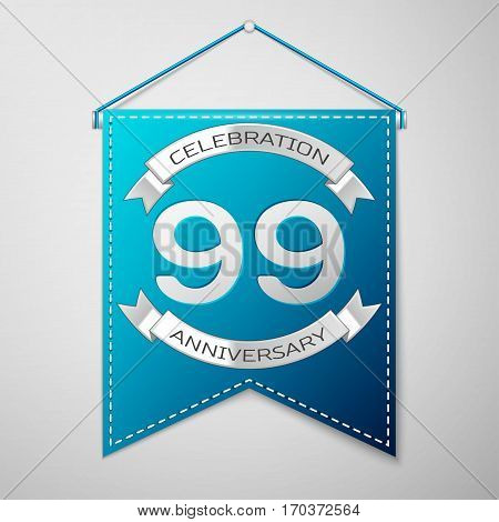 Blue pennant with inscription Ninety nine Years Anniversary Celebration Design over a grey background. Silver ribbon. Colorful template elements for your birthday party. Vector illustration