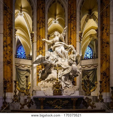 CHARTRES, FRANCE - CIRCA DECEMBER 2016: The Assumption of the Virgin by Charles-Antoine Bridan in Chartres Cathedral.