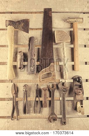 Tools. Tool Set On Wooden  Background. Tool Kit Ready To Work.