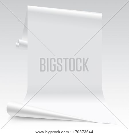 Three dimensional lit white paper sheet.  Wallpaper segment. Contains the Clipping Path