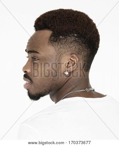 Black guy head tilt angle shot
