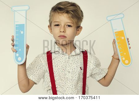 Boy Holding Papercraft Test Tube Science Theory